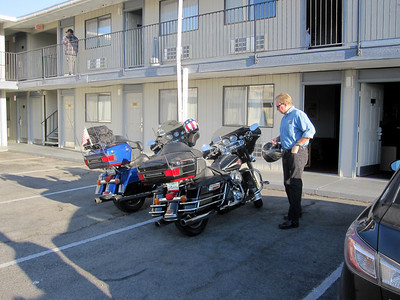 Day 1  Checking into our motel rooms in Bishop, CA