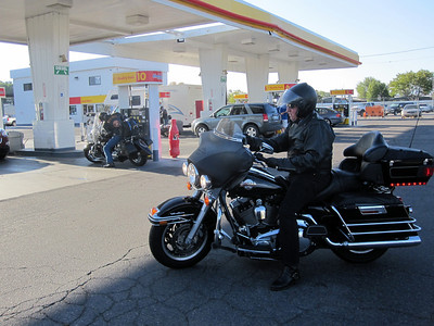 Day 2  Fueling up for our ride from Bishop to Reno