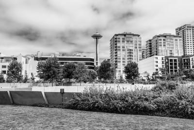 Seattle Space Needle. Olympic Sculpture Park. Downtown Seattle, WA, USA