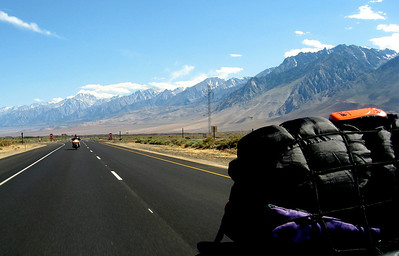 HWY 395. You can see my SPOT satellite tracker on top of my sleeping bag.