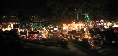 Christmas lights outside the Oak Creek Brewery