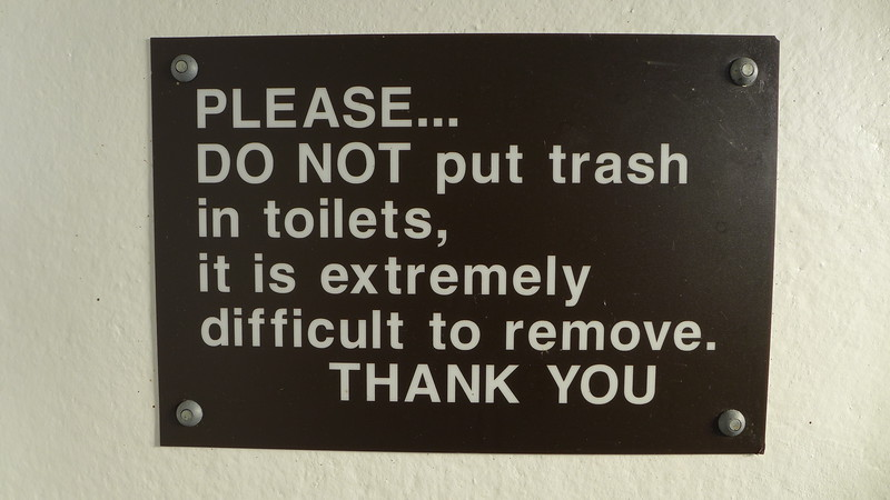 Great sign in the pitt toilets at Kirk Creek, April 2016.