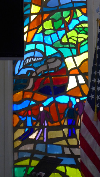 Stained glass windows in the Chapel, Fort Hunter Liggett, April 2016.