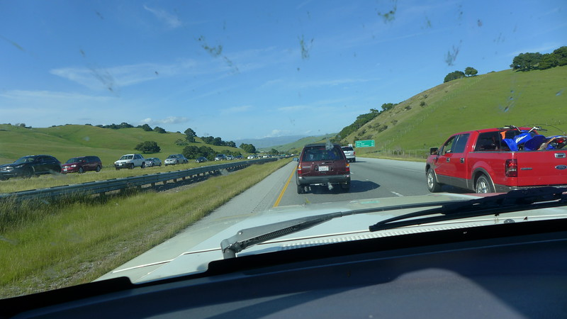 On the way up to Sonoma, lots of bugs and  traffci, Highway 101  near Watsonville, 2016.