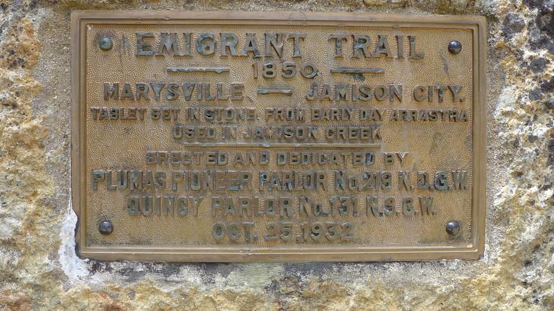 Emigrant Trail Historic Marker,  Plumas Eureka State Park, 2015.