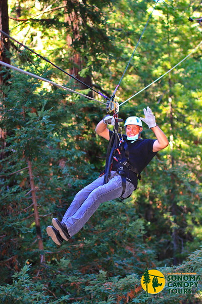 Ty is smiling as he anticipates where he will land, Sonoma Canopy Tours, 2020.