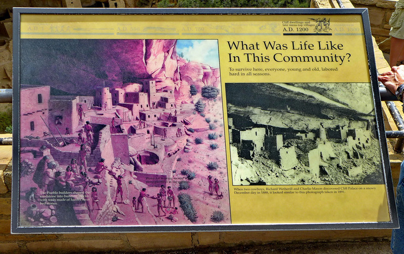 Interpretive sign showing life at the Cliff Palace. , Mesa Verde National Park, 2013.
