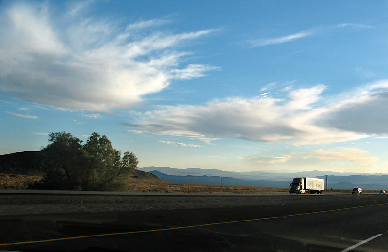 We were heading south; the semi and others are headed north. This was taken between Cedar City and St. George.
