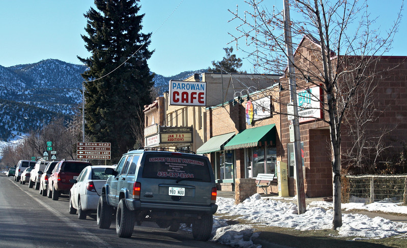 Here's the Parowan Cafe; shot was taken looking South on Main Street Photos taken around different parts of Parowan the morning following Mom's burial in the Parowan City Cemetery.