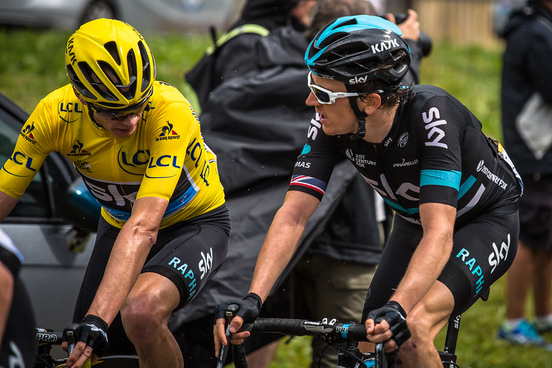 Chris Froome and Geraint Thomas chatting during the Tour De France 2016.