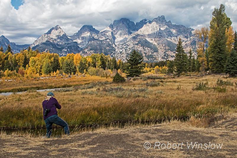 Stephanie A. Photographying at Schwabacher's Landing, Grand Teton National Park, Wyoming, USA, North America