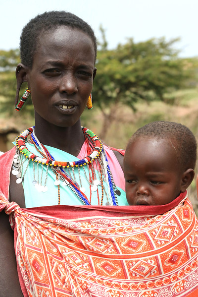Mother and baby in Masai village.  Photo by Leah Bensen