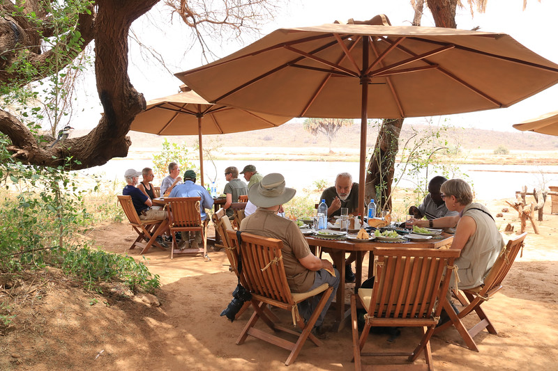 Having lunch by the river in Samburu National Reserve.  Photo by Leah Bensen
