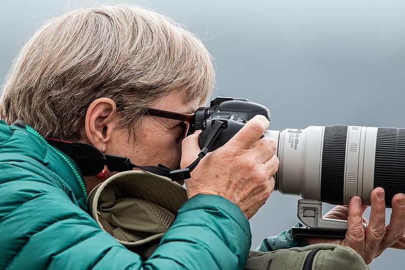 Stephanie photographing at Lake Nakuru