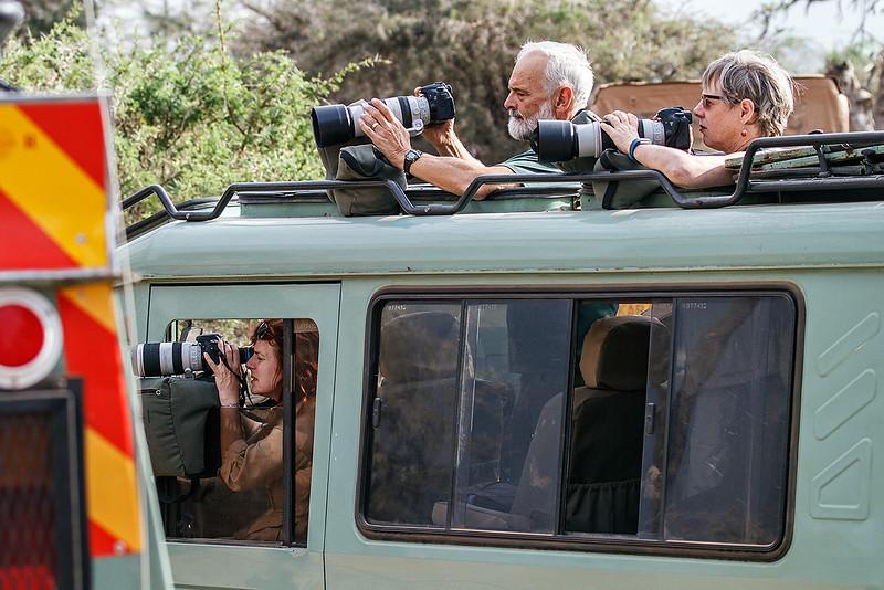 Leah, Gary and Stephanie photographing in Samburu