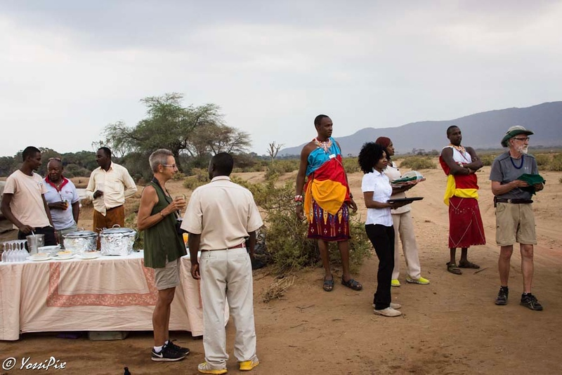 Last day in Samburu. Cocktails by the Samburu river. Photo by joe Saltiel