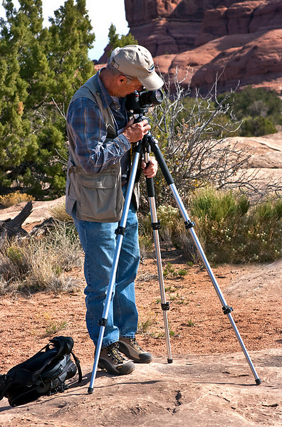 Bruce Checking his lens, Needles District, Canyonlands National Park, Utah