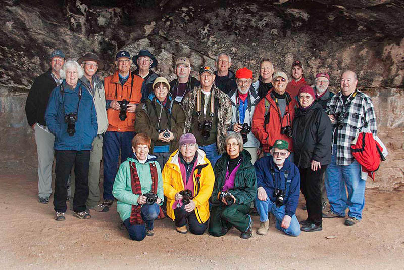 Group at Cave Spring, Canyonlands National Park, UT,  Vicki Dolce created an image with both Robert and Ryan in the same photo.