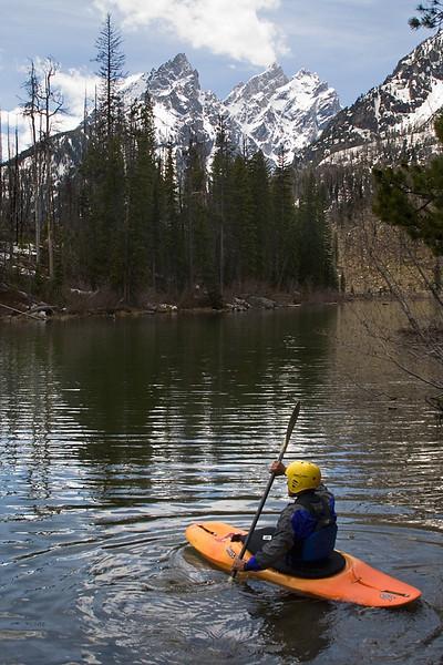No Model Release, Kayaker, String Lake, Grand Teton National Park, Wyoming, USA, North America