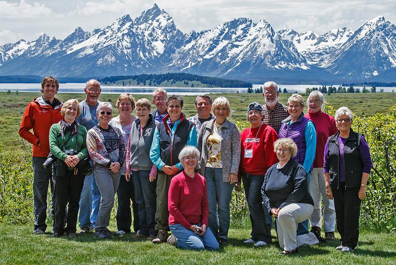 Group with Grand Tetons and no Robert