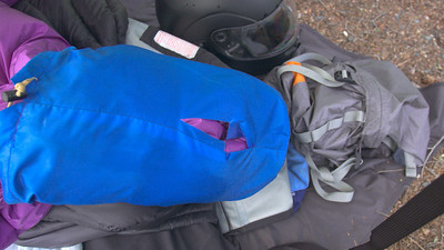 My sleeping bag jettisoned off my pannier in the left lane of I5 in downtown Seattle 20 minutes after departure. Doh! Bad tie down.