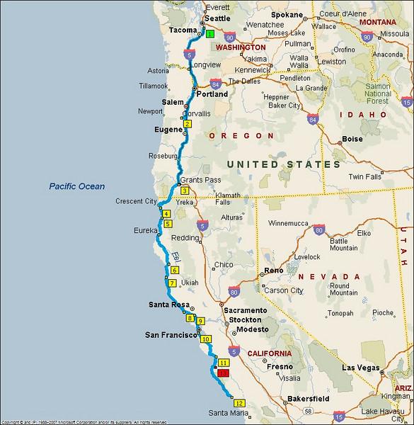 Trip route.