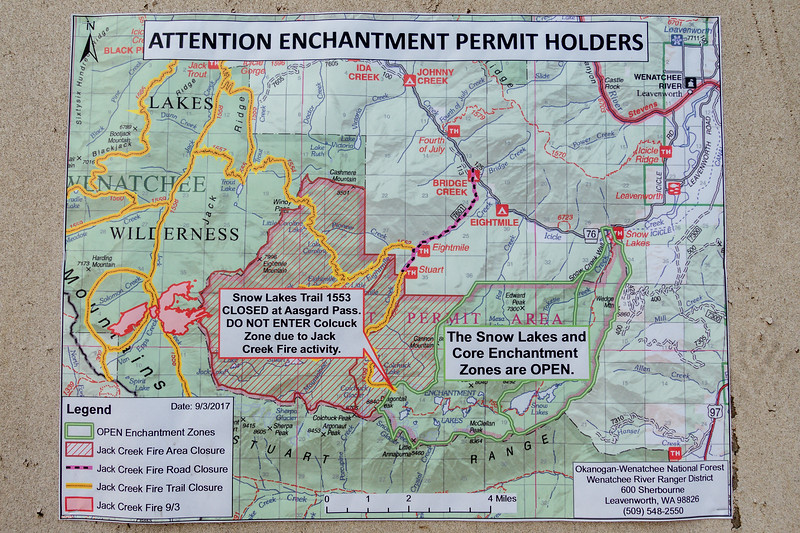 Forest fire map - up and down via Snow Lake Trail