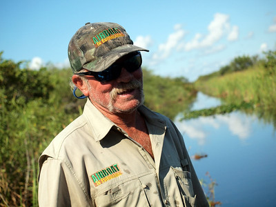Air-boat tour of the Everglades, Florida - our Captain and guide.