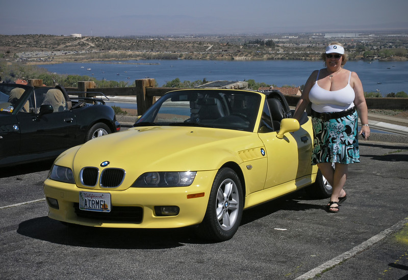 Nancy and the Bumble Bee on Hwy 14 overlooking Lake Palmdale - 18 Apr 2009