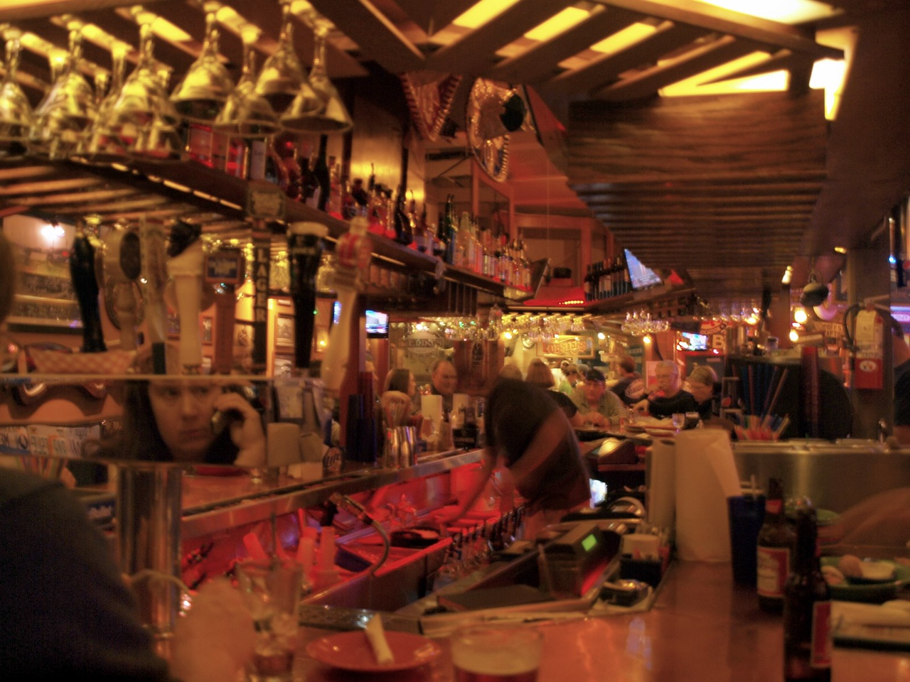 Inside Geddy's in Bar Harbor