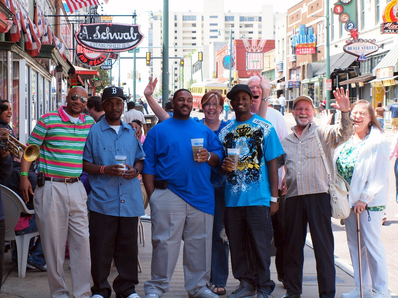 Meeting some new friends on Beale Street