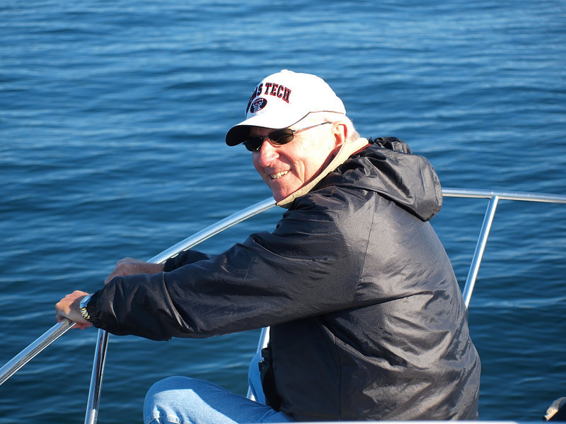 Mike had a great spot in the front of the boat.The weather was great and seas so calm he didn't have any problems with sea sickness.
