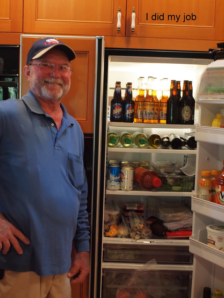 David's job - getting the beer and wine situated in the fridge!