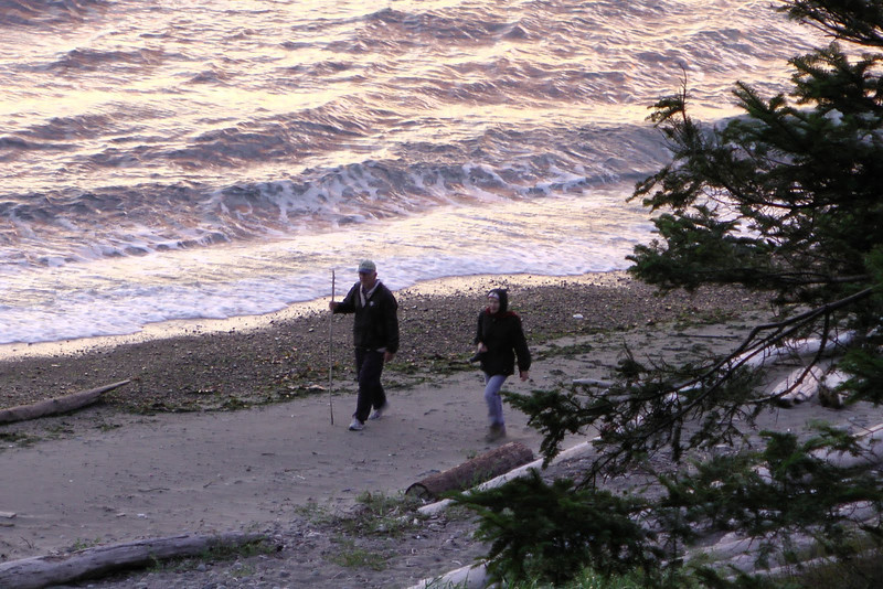 Mike and Linda on the beach in front of the Whidbey house