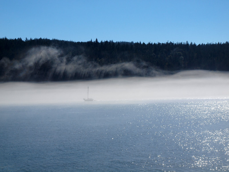 Fog as we leave the Anacortes ferry terminal