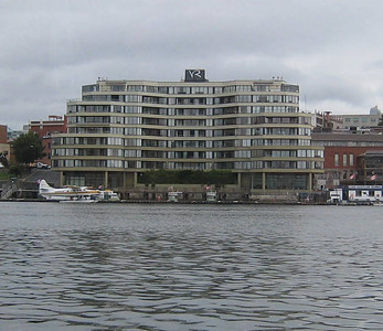 "A view of our hotel - the Victoria Regent - from the harbor (we were riding one of the ""Doodle Bugs"""