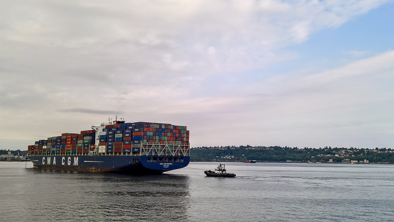 Cargo ship at Port of Seattle