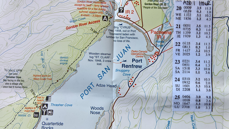 Close up view of map and tide chart