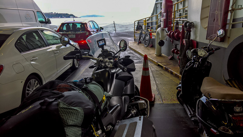 motorcycle with gear on the ferry
