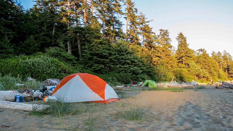 Tent side at Bonilla Point CG