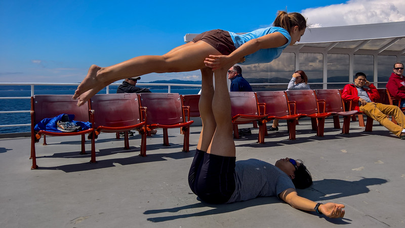 acrobats on the ferry to Victoria