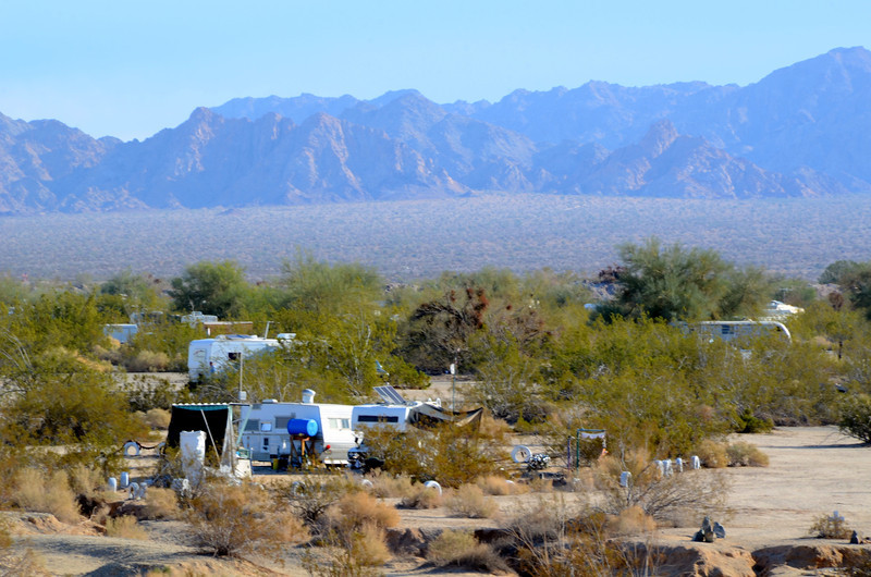 RVs and shelters of every variation litter the landscape. It is often difficult to determine if they are occupied or not.