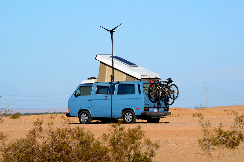 This high tech Volks Van uses both solar and wind powered systems.