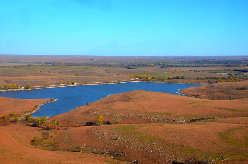 Aerial view of beautiful Chase State Fishing Lake from my Flint Hills flight with John.