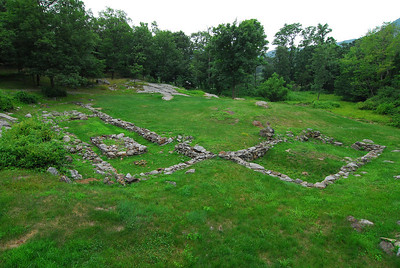 Foundation on the left is from the barracks for the enlisted men, while the shorter foundation on the right served as the barracks that housed the senior officers. Notes and letters from the spring of 1776 indicate that the enlisted men's barracks was two-stories high.