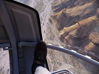 I got to ride in the front on our flight out of the canyon. That's my shoe. Very cool!