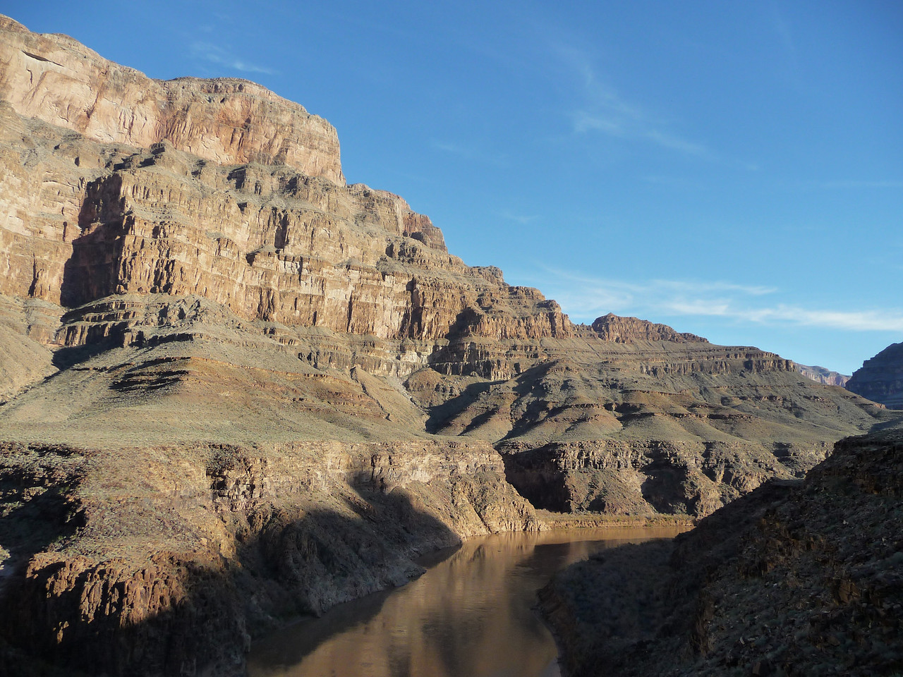 This shot was taken as we were flying right above the Colorado River in the canyon.