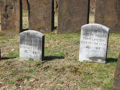 Father and Son that fought in the Revolutionary War? The Battle of White Plains (NY) was on October 28, 1776 and the Connecticut Regiment was involved in the battle. Perhaps Joseph was killed in that battle and buried back in his hometown?