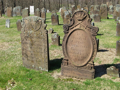 Interesting to see how well preserved Capt. Nathanael Sutlief's 1760 grave is, compared to that of his wife Hannah, who was buried here in 1779 at 92 years of age. Maybe the Captain's was replaced at a later date?