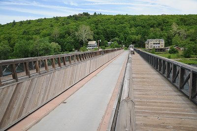 The Roebling aqueduct is a single-lane passenger car bridge today. The aqueduct used to be filled with six-feet of water here, which would be used to float canal boats across the river.
